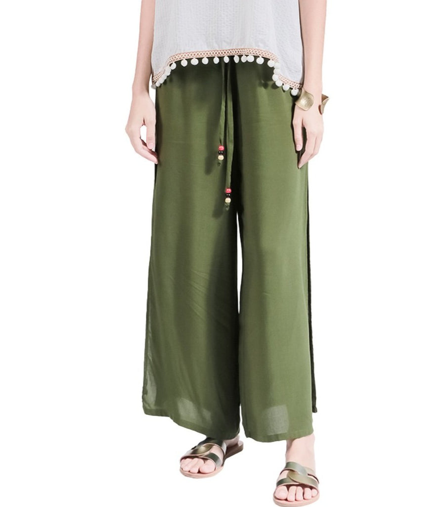 Karri Wide Leg Pants with Side Slit Green