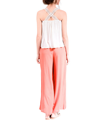Rayla Wide Leg Pants with Front Slit Orange