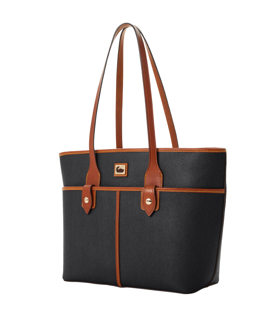 Camden Saffiano Double Pocket Tote Black