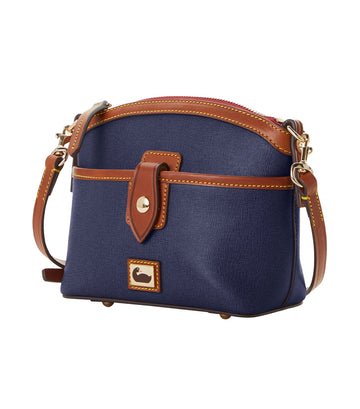Camden Saffiano Domed Pocket Crossbody Marine