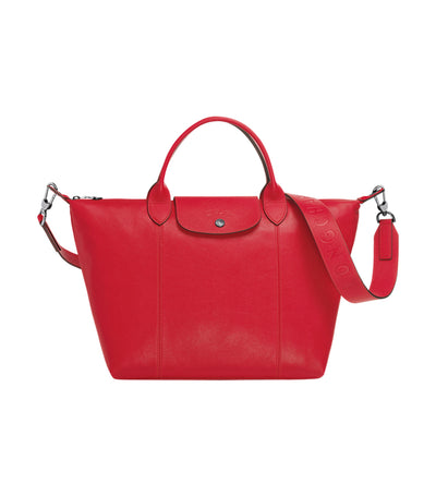 Le Pliage Cuir Top-Handle Bag M Red