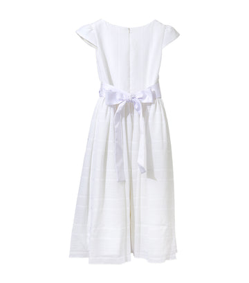 rustanette off white patch party dress with bow