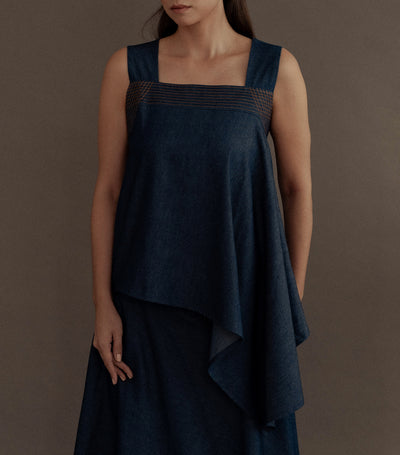 Cierra Sleeveless Asymmetrical Blouse with Top Stitching Chambray