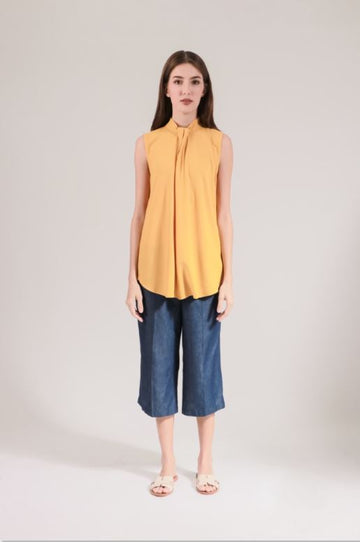 lady rustan lacey sleeveless blouse - yellow