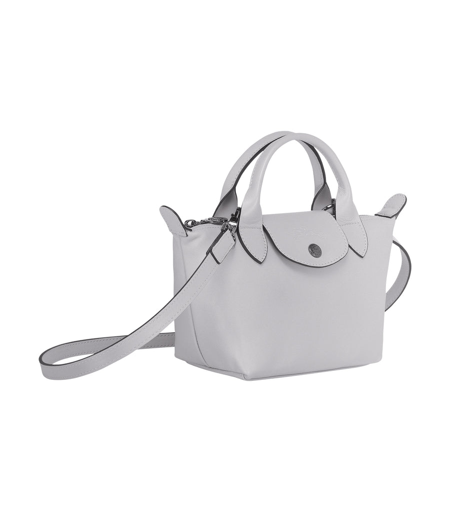 Le Pliage Cuir Top-Handle Bag Mini Gray