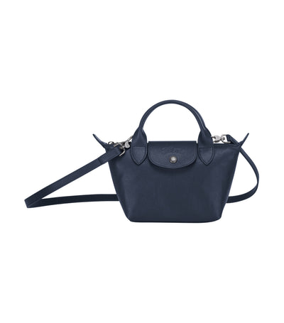 Le Pliage Cuir Top-Handle Bag Mini Navy