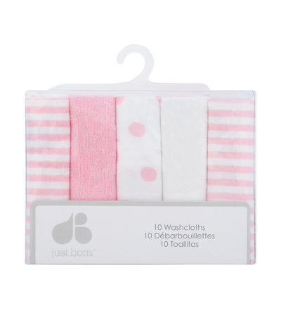 just born® baby girl 10-pack terry washcloths