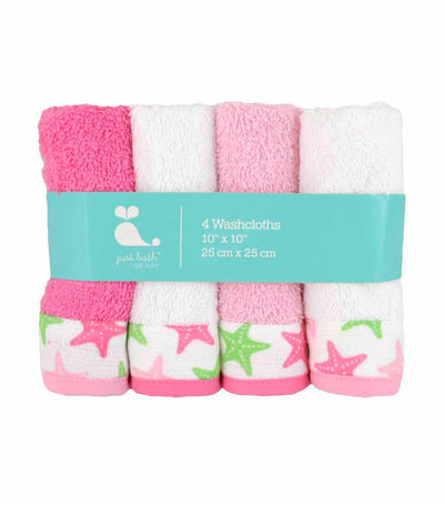 just born® sea brights 4-pack star washcloth
