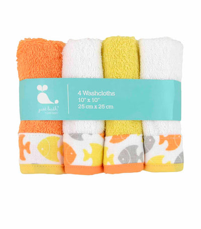 just born® sea brights 4-pack fish washcloth
