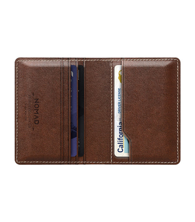 Slim Wallet with Tile Rust Brown Leather