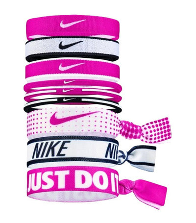 nike girls mixed poytail 9 pack - rush pink, black and white