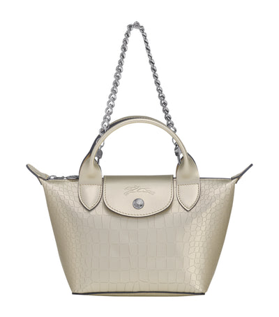 Le Pliage Cuir Top-Handle Bag Mini Platinum