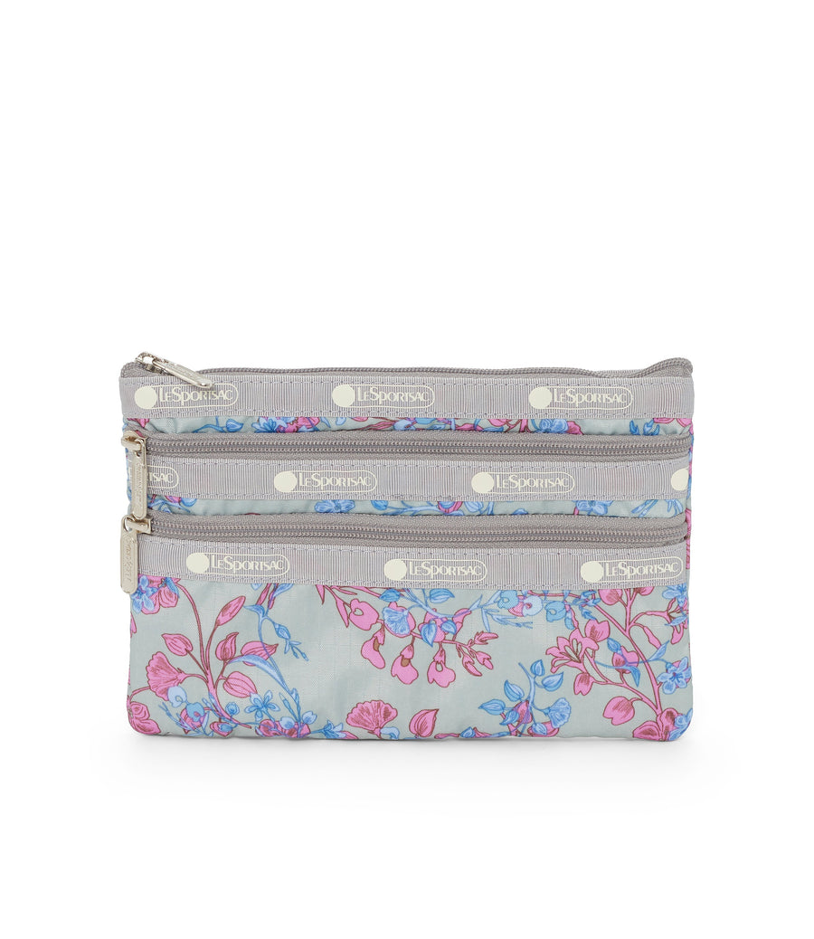 Laelia Mint 3-Zip Cosmetic Bag
