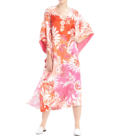 Mantilla Scroll Caftan Papaya Multi