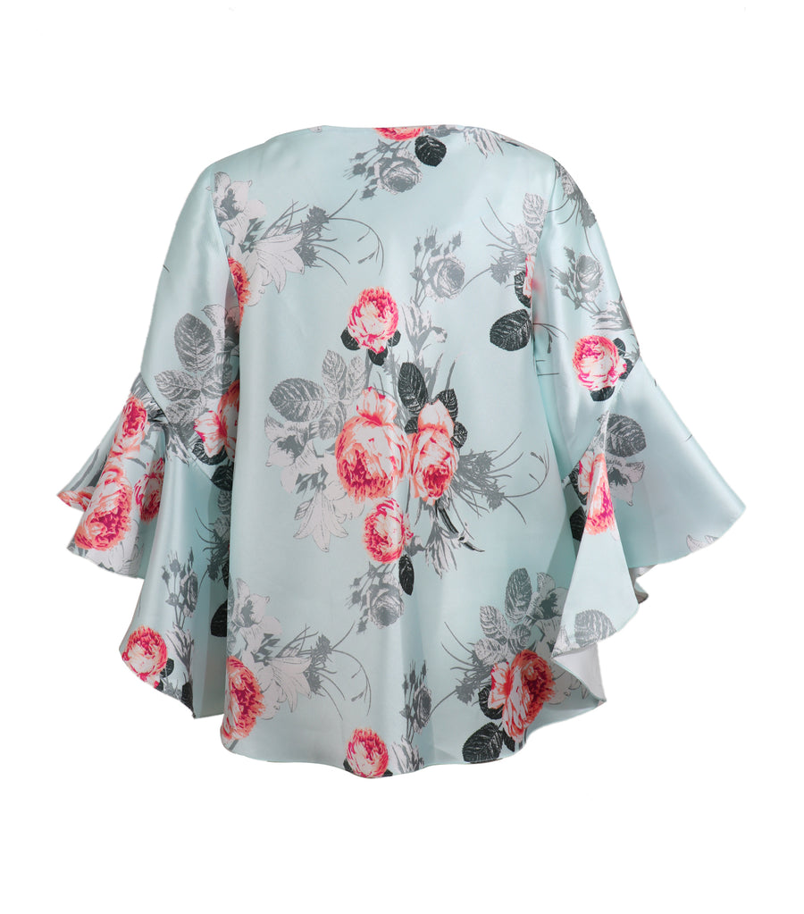Gemma Blouse with Flouncing Sleeves Mint