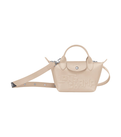Le Pliage Cuir Estampe Top-Handle Bag Mini Chalk