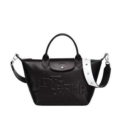 Le Pliage Cuir Estampe Top-Handle Bag S Black