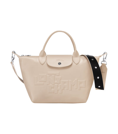 Le Pliage Cuir Estampe Top-Handle Bag S Chalk