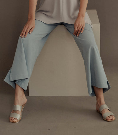 Aalia Flared Pants with Side Slit Blue