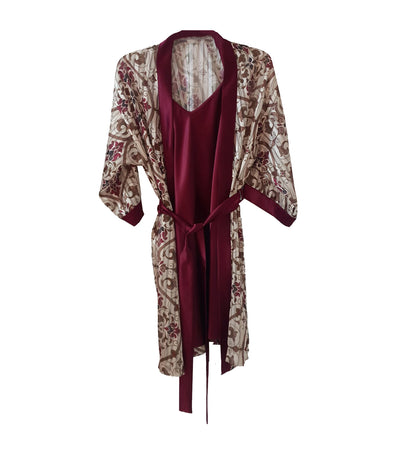 Ophelia Peignoir Set Burgundy