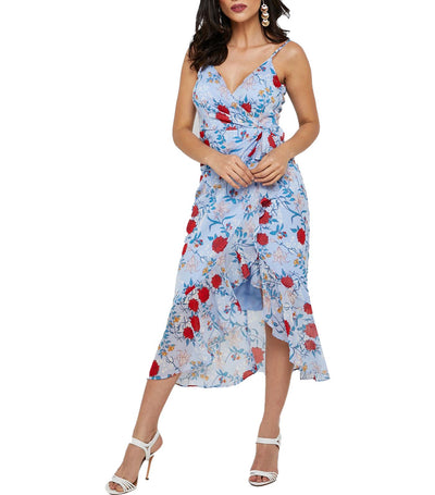 Elle Midi Dress Blue/Red Floral
