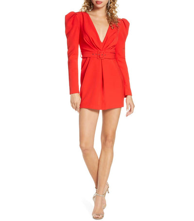 Letty Puff Long Sleeve Mini Dress Fire Red