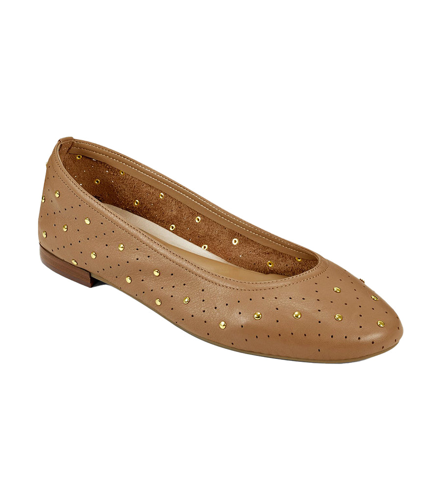 Shelley Studded Ballet Flats Light Tan