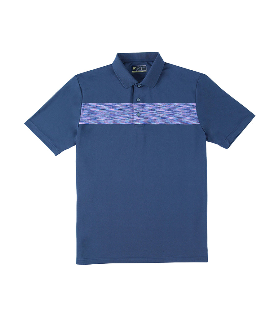 Geo Space Dye Chest Print Polo Classic Navy