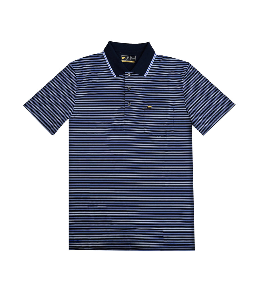 Quad Color Pencil Stripe Polo Shirt Classic Navy