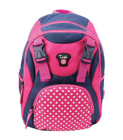 trek pola dots junior backpack -pink