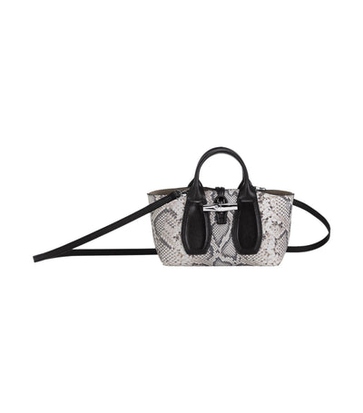 Roseau Python Top-Handle Bag S Black and White