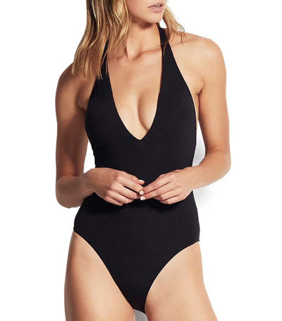 Active V Plunge Maillot One-Piece Black