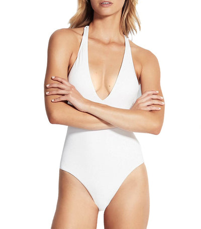 Active V Plunge Maillot One Piece White