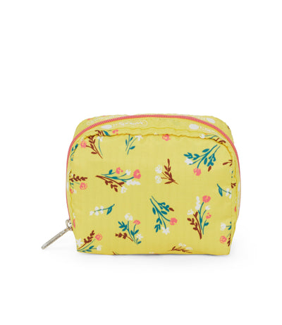 Yucca Yellow Bouquet Square Cosmetic Bag