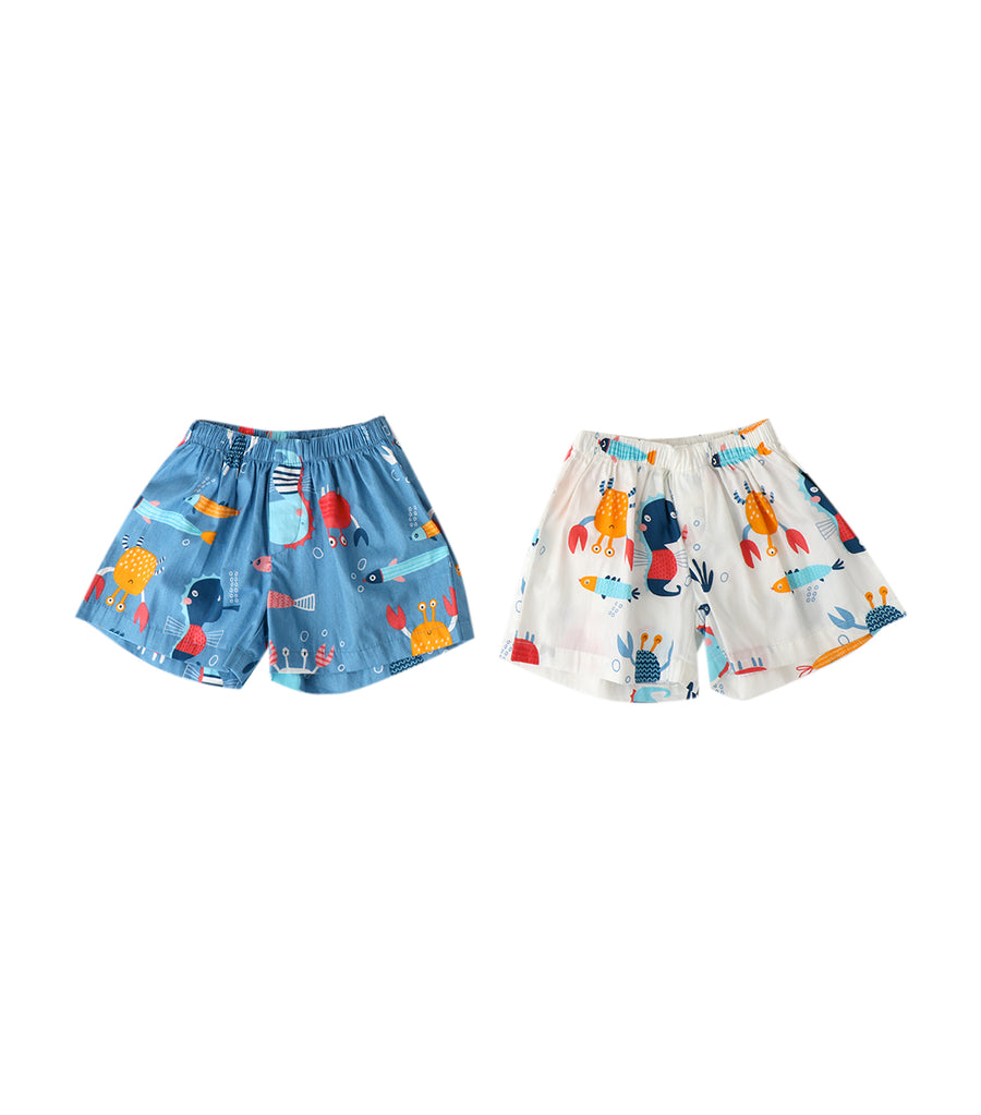 tumble bumble blue and white 2-in-1 ocean boxer shorts