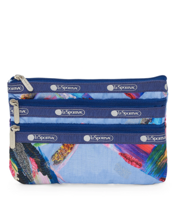 Painterly 3-Zip Cosmetic Bag