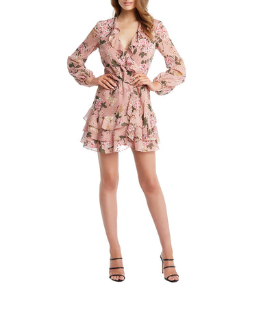 Frill Floral Dress Soft Pink Floral