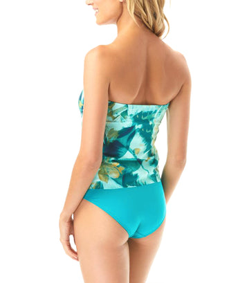 Rainforest Draped Bandeau Tankini Swimsuit Lagoon