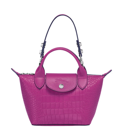 Le Mini Pliage Cuir Croco Top-Handle Bag Fuchsia