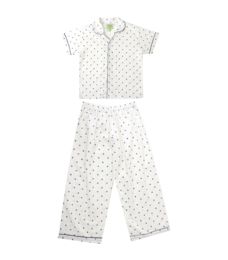 tumble bumble white cross pajama set