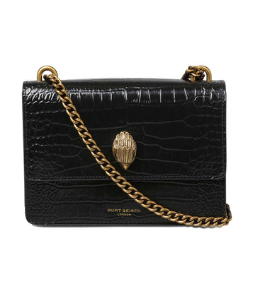 Shoreditch Crossbody Bag Crocodile Print Black