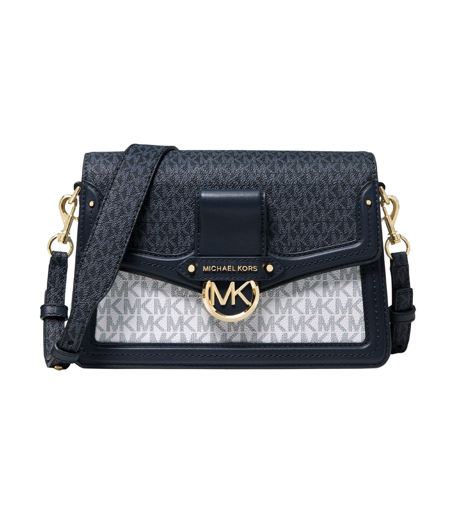 Jessie Medium Two-Tone Logo Shoulder Bag Navy