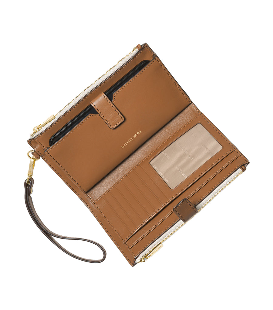 Jet Set Double Zip Wristlet Vanilla