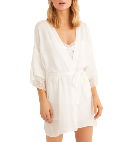 Short Satin Robe White