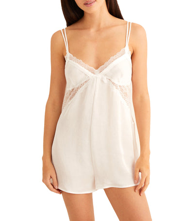Short Satin Romper White