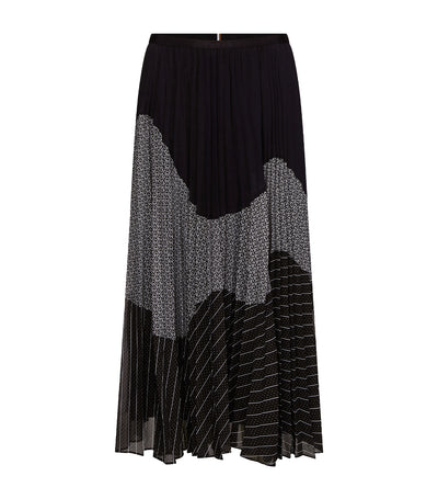 Pleated Contrast Pattern Midi Skirt Black