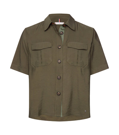 Short-Sleeved Utility Blouse Army Green