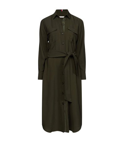 Viscose Blend Utility Shirt Dress Army Green