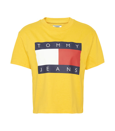 Tommy Flag Print Cropped Fit T-Shirt Spectra Yellow