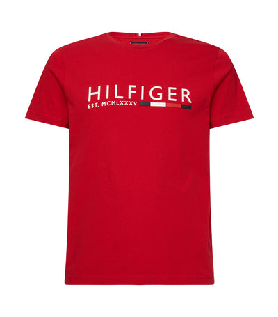 Rubberized Logo Organic Cotton T-Shirt Primary Red